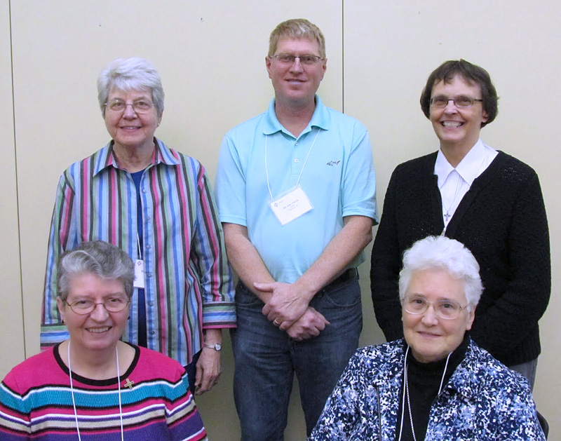Above: The NRRO's newest volunteer consultants are: (standing, from left) Sister Margaret Wick, OSF; Mr. Alan Stache; Sister Joyce Lehman, CPPS; (seated, from left) Sister Marie Verrilli, SND; Sister Fran Moore, CDP.